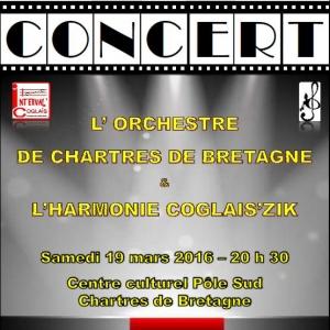Concert de l'orchestre de Chartres de Bretagne et l'harmonie Coglais'Zik